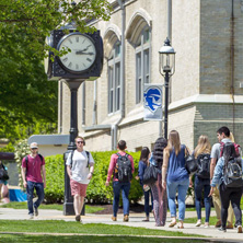 Seton Hall Students Walking on Campus between Stafford and Mooney